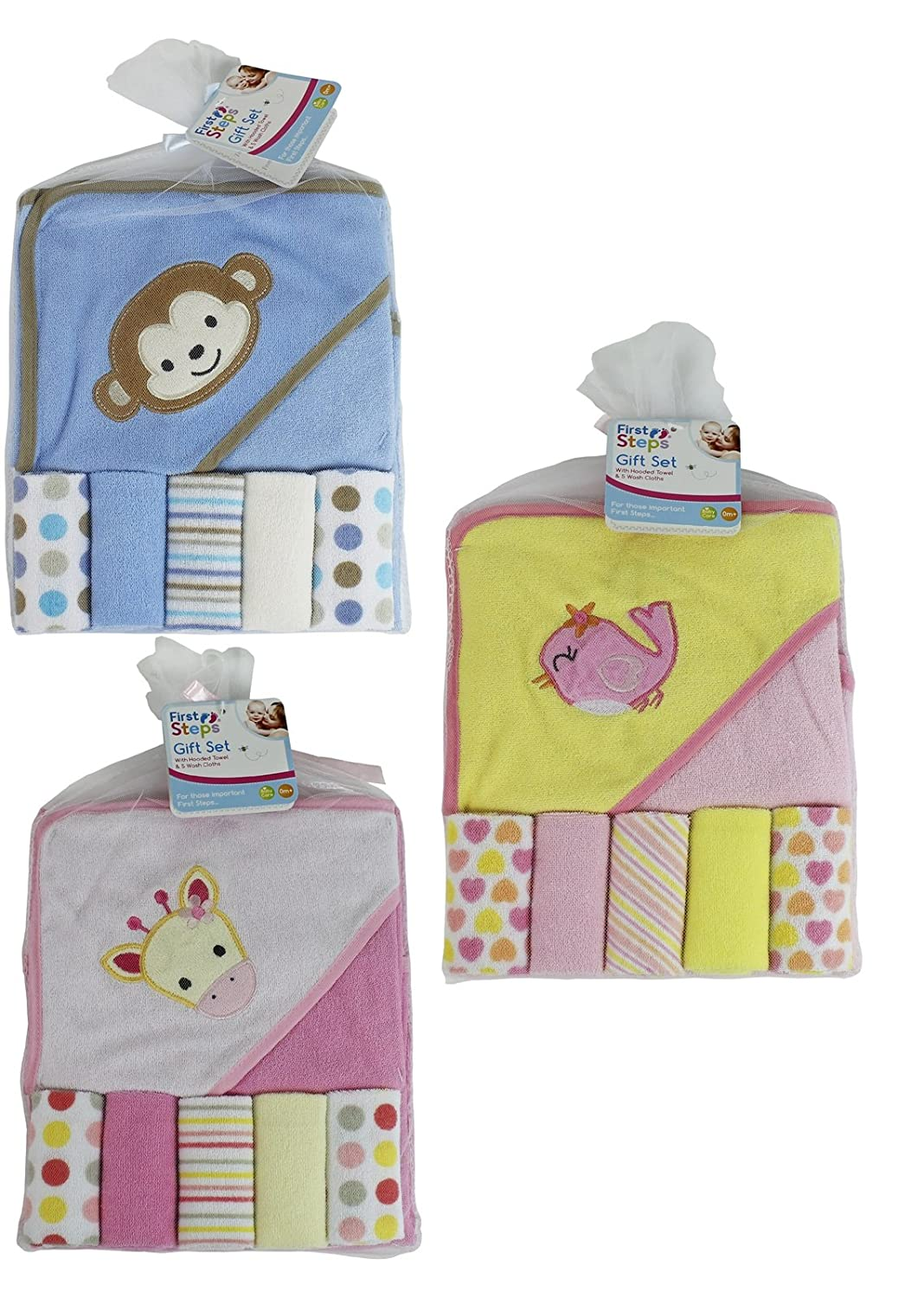 First Steps Hooded Baby Towel (5 Wash Cloths Set) FS272