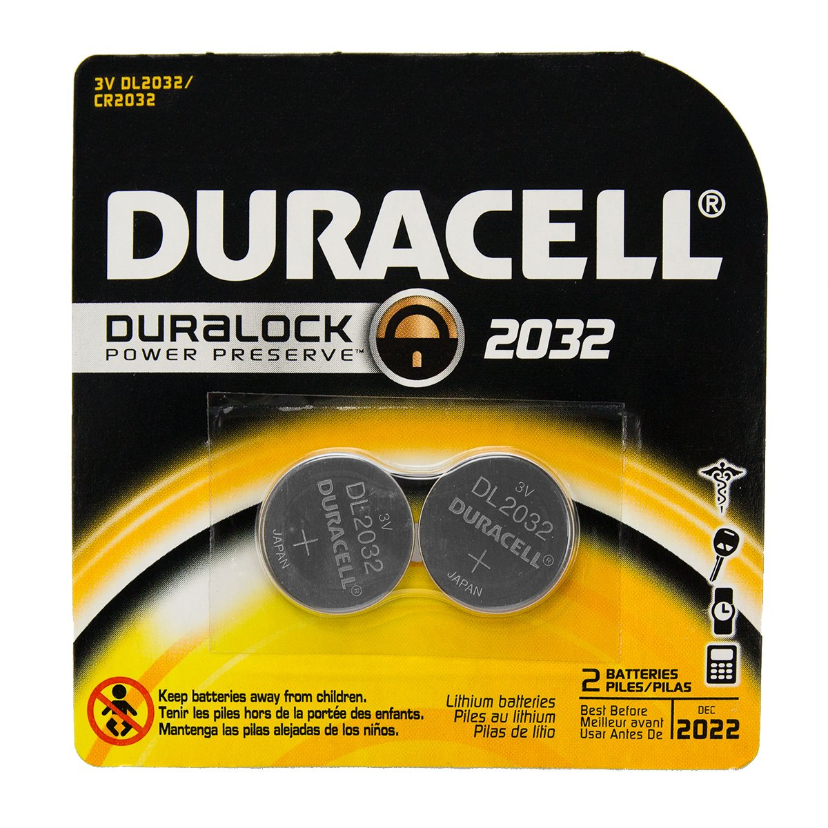 12 Duracell DL2032 Duralock Lithium Batteries Cell Button Electronics (2x6) 81AeBq-Y2jL