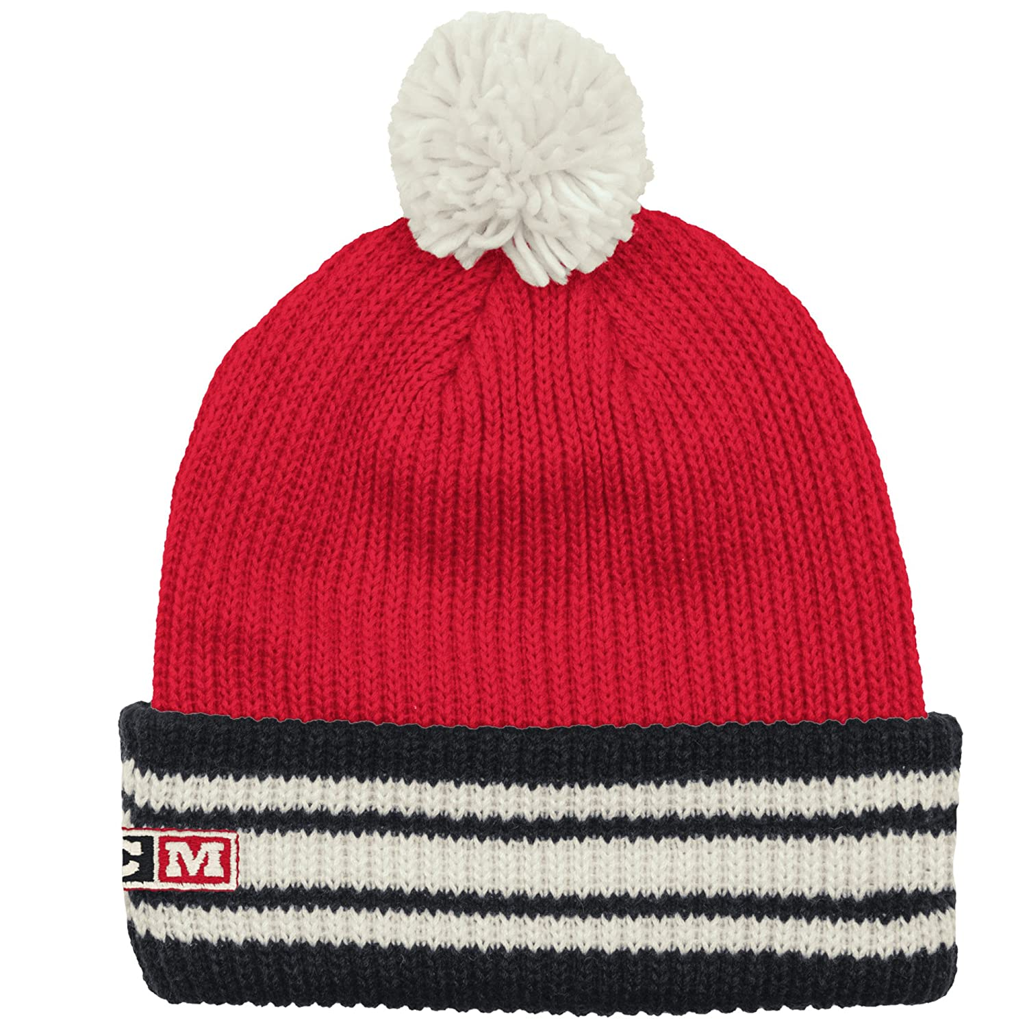 separation shoes e963d d4a0d Amazon.com   Reebok Chicago Blackhawks CCM NHL Watch Cuffed Knit Hat with  Pom   Clothing