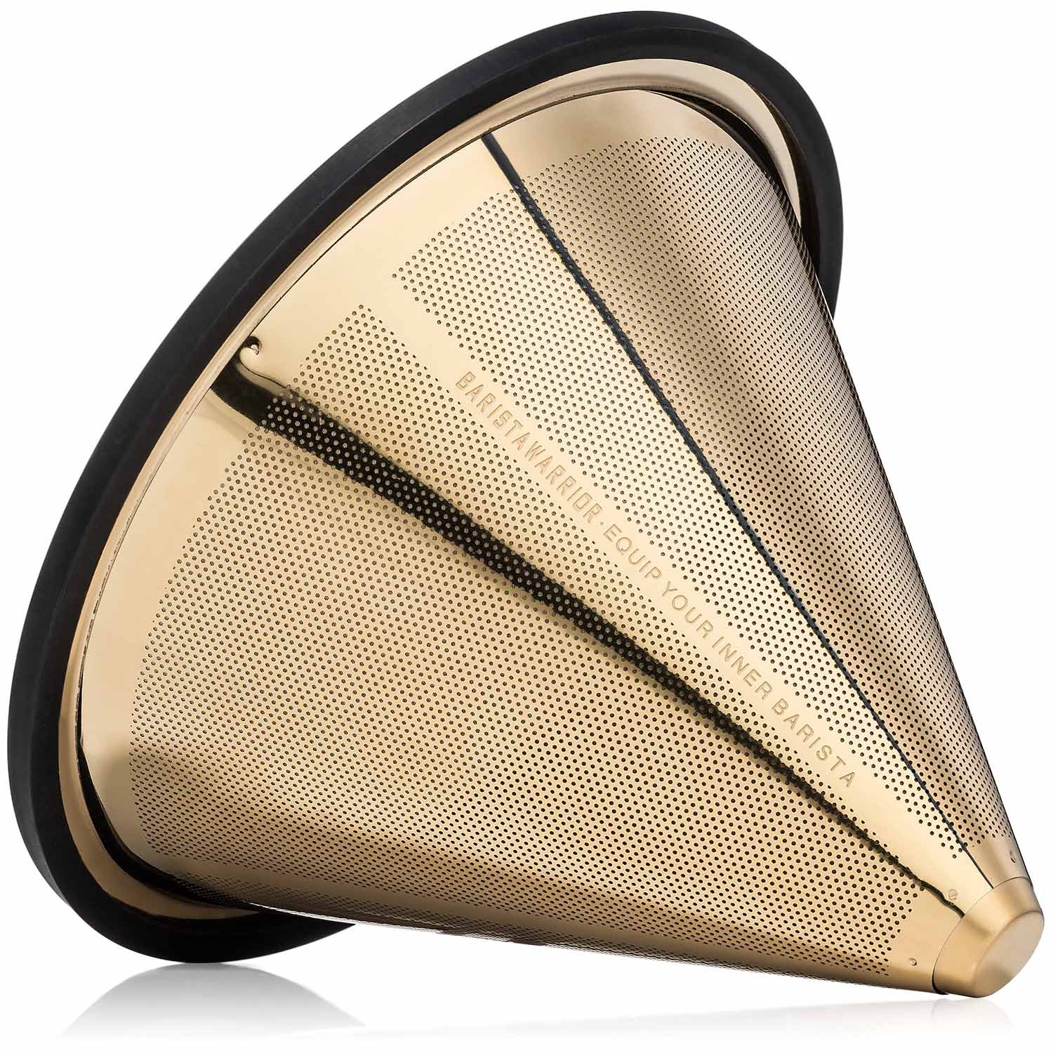 TITANIUM COATED GOLD Pour Over Coffee Filter - Reusable Stainless Steel Drip Cone for Chemex, Hario V60, Carafes and Other Coffee Makers by Barista Warrior (Image #1)