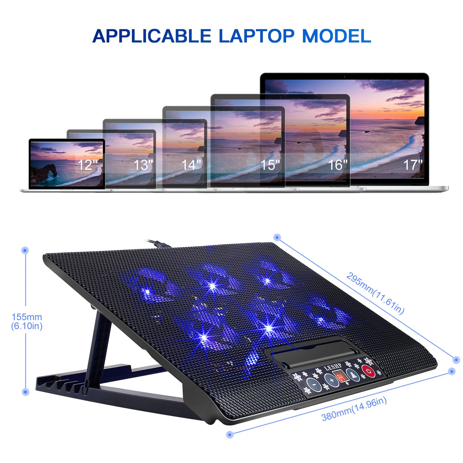 12-17inch Gaming Laptop Cooler, Laptop with USB Port Laptop Cooler Stand Pad Cooling Pad Fan 6 Ventilatoren (M8)