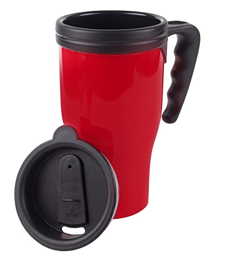 Fill n Brew Insulated Mug, Plastic, 16 Ounces, Red, 2-pack