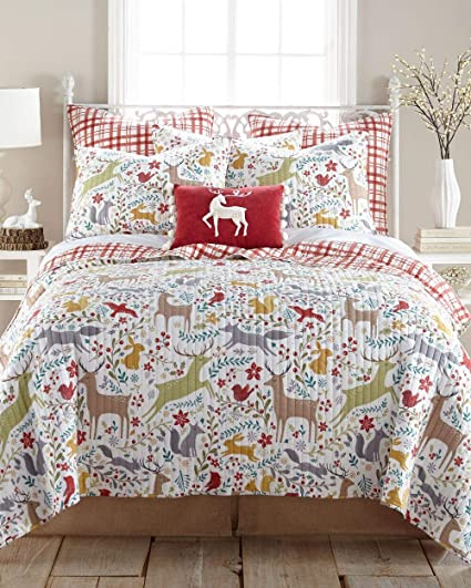 red white winter woodland reindeer plaid christmas full queen quilt set holiday bedding