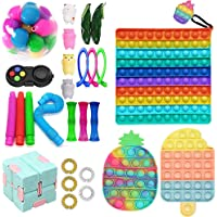 NINGJING Big Fidget Toys Pack, Sensory Fidget Set Pop Bubble Stress Relief Toys with Marble Mesh Pop Anxiety Tubes for…