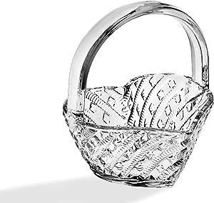 Godinger Crystal Heart Shaped Basket Candy Dish, Trinket Holder