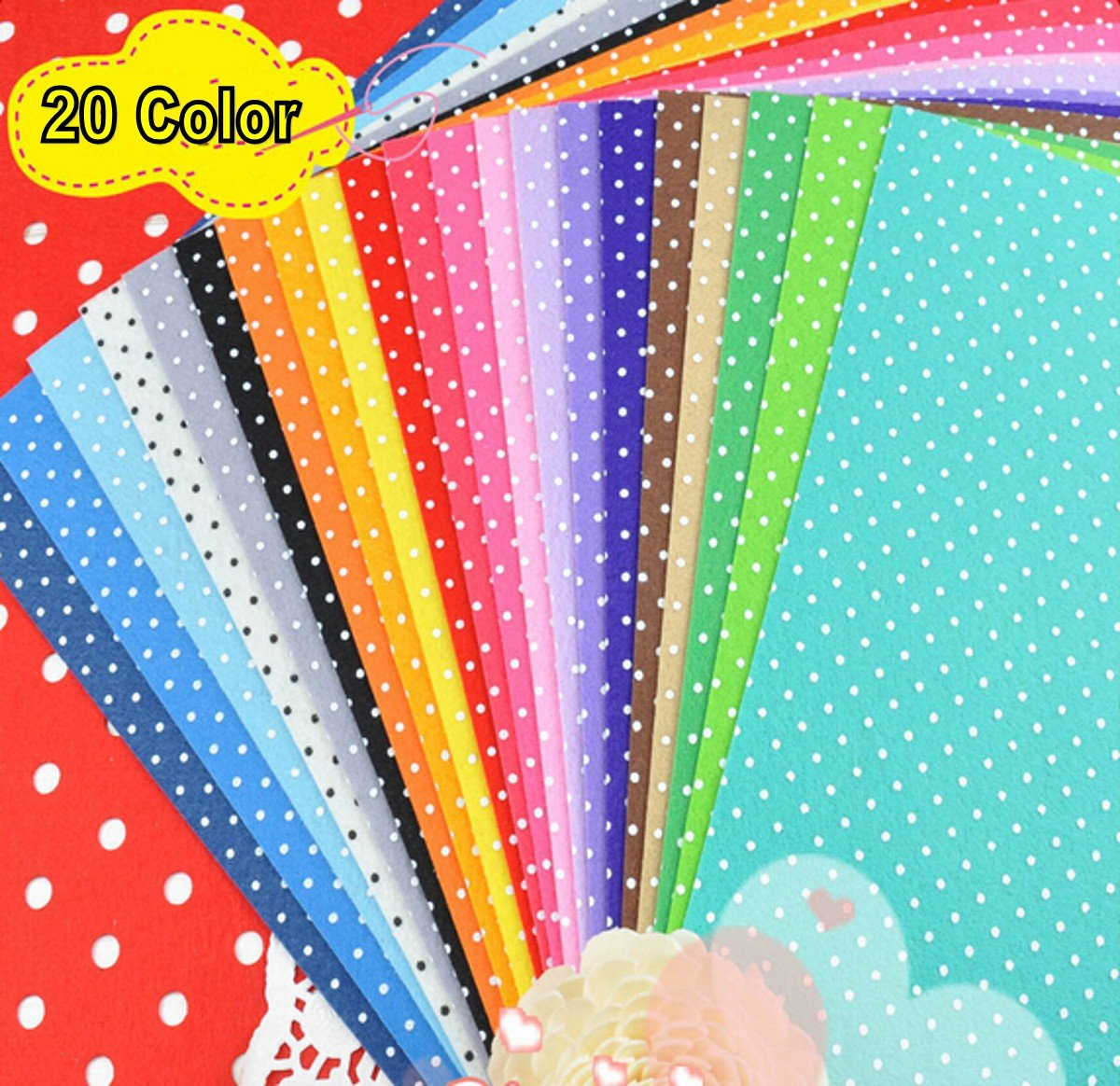 Amazon Com Diy Polyester Dot Felt Fabric Nonwoven Sheet For Craft