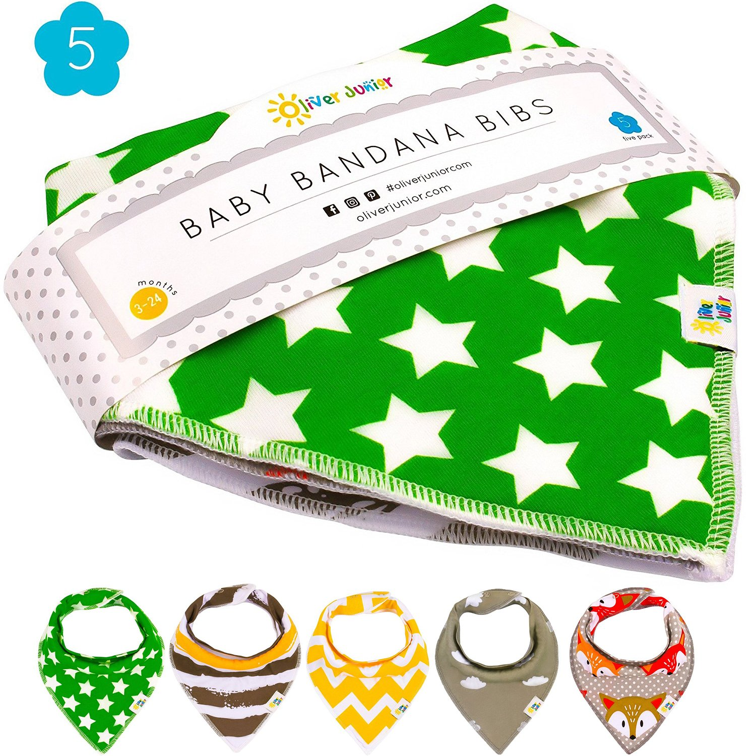 Baby Drool Bibs - Baby Bibs Bandana - Toddler Infant Teething Drooling 100% Organic Cotton Triangle Soft Absorbent Bibs with Snaps Set of Five for Infant Tots Boys and Girls Green Yellow Grey Stripe Oliver Junior