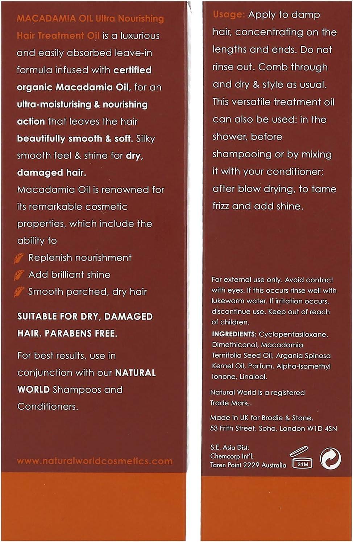 Natural World Macadamia Ultra Nutritivo Aceite Tratamiento Cabello 100 ml