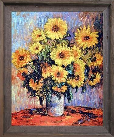 Claude Monet Sunflowers Flower Wall Decor Barnwood Framed Picture Art Print  (19x23) Part 79