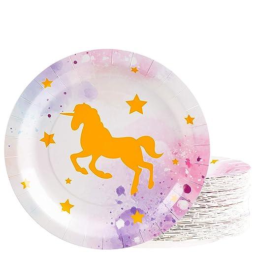 Platos desechables - 80 platos de papel, diseño de unicornio ...