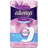 Always Thin Dailies Liners, Unscented, Wrapped, 60 Count