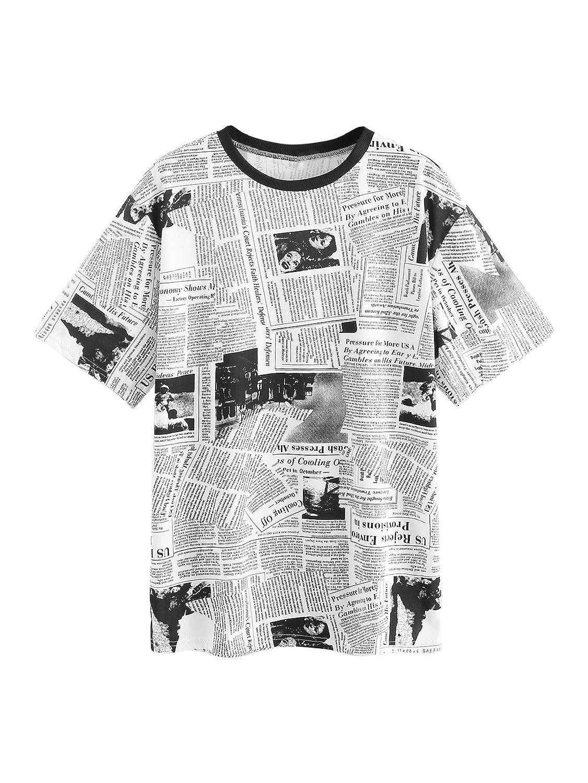 ac23ec7b2 SweatyRocks Women's Casual Loose Short Sleeve Newspaper Print Long T Shirt  Tops at Amazon Women's Clothing store: