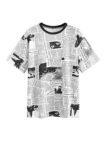 33cb7919 SweatyRocks Women's Casual Loose Short Sleeve Newspaper Print Long T Shirt  Tops at Amazon Women's Clothing store: