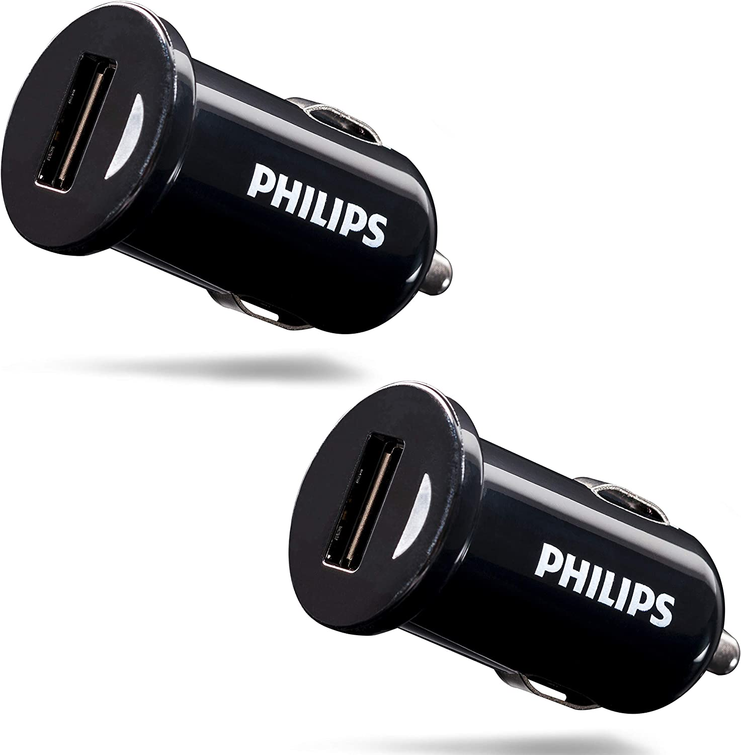 Philips 5W USB Car Charger, 2 Pack, For iPhone XS/XR/X/8, iPad Pro/Air/Mini, Samsung Galaxy S10/S9/Plus, Google Pixel C/3/2/XL and More, DLP2548/37