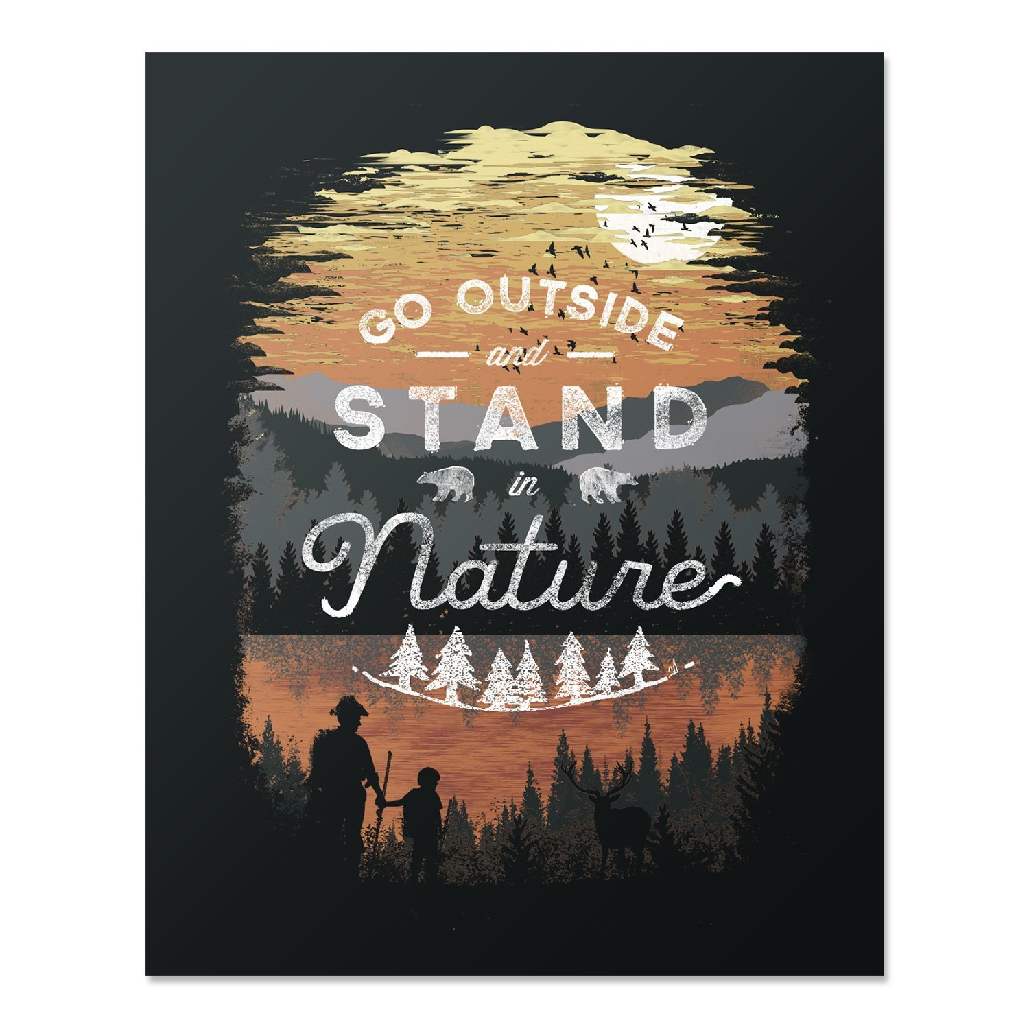 Wilderness Nature Lover Art Print Mountain Forest Trees Outdoor Inspiration Wall Poster Hiking Lake Reflection Home Decor 18 x 24 Art Print