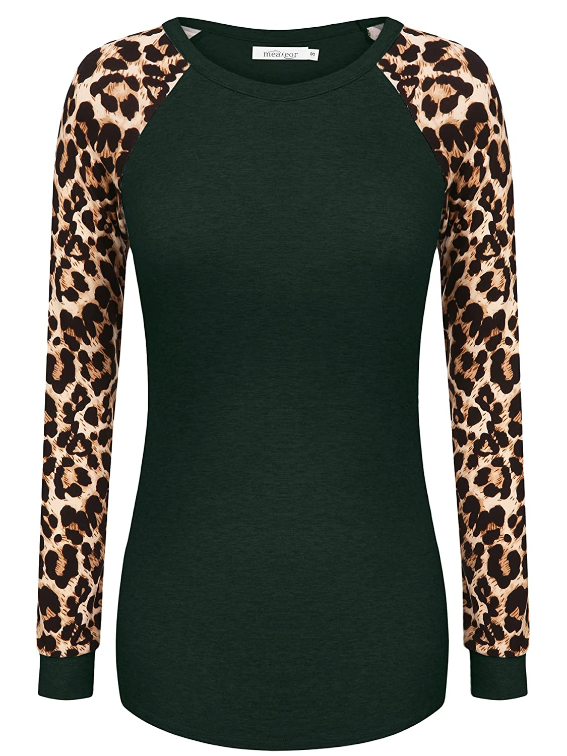 Meaneor Women's Long Sleeve Leopard Print Casual Slim Fit Tunic T ...