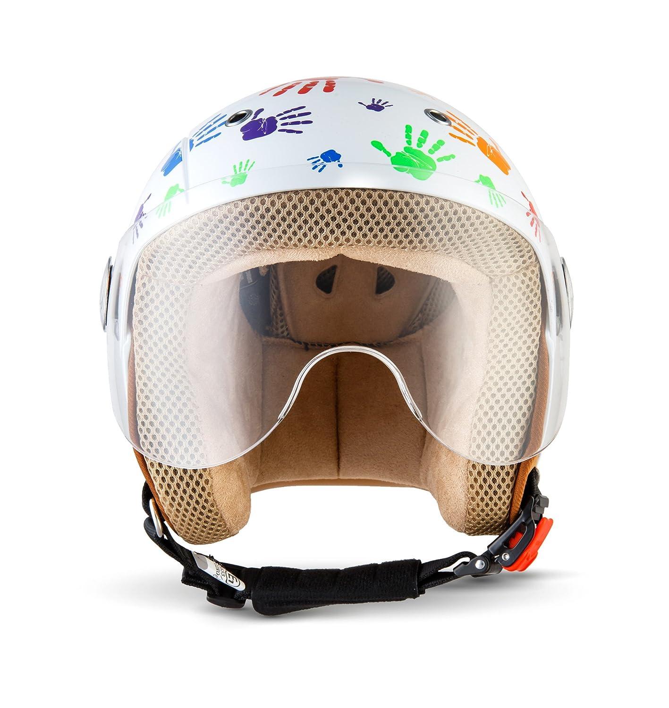 SOXON SK 55 Kids Color Hands · Kinder Helm Kinder Jet Helm Mofa Vintage Bobber Roller Helm Helmet Pilot Vespa Helm Jet Helm Biker Chopper Scooter Helm