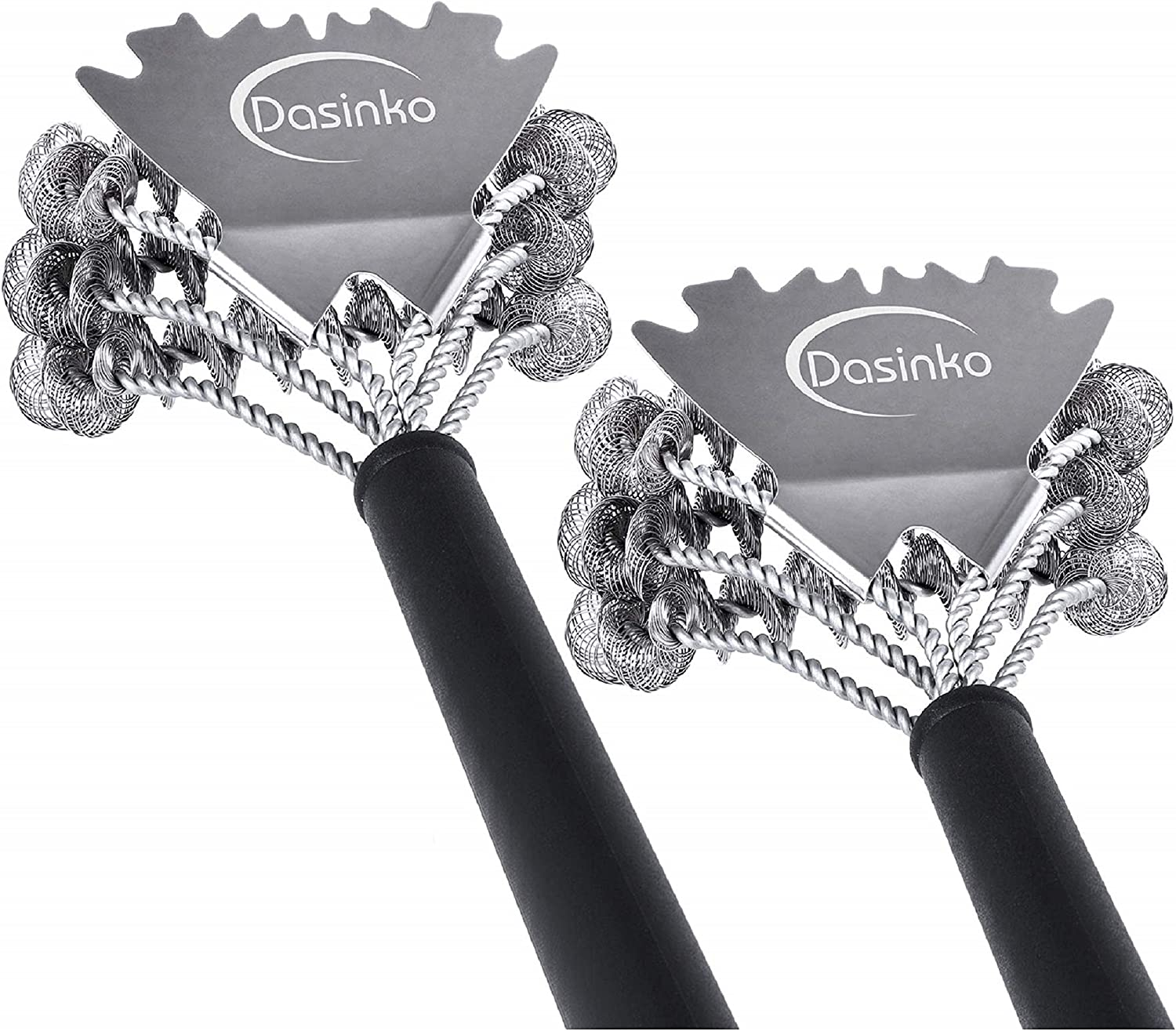 DASINKO Grill Brush Bristle Free, 2 Pack BBQ Brush and Scraper for Weber Grill Cleaning, Heavy Duty Stainless Steel Barbecue Scraper Tool, Safe Cleaner Long Handle Barbeque Accessories Set of 2