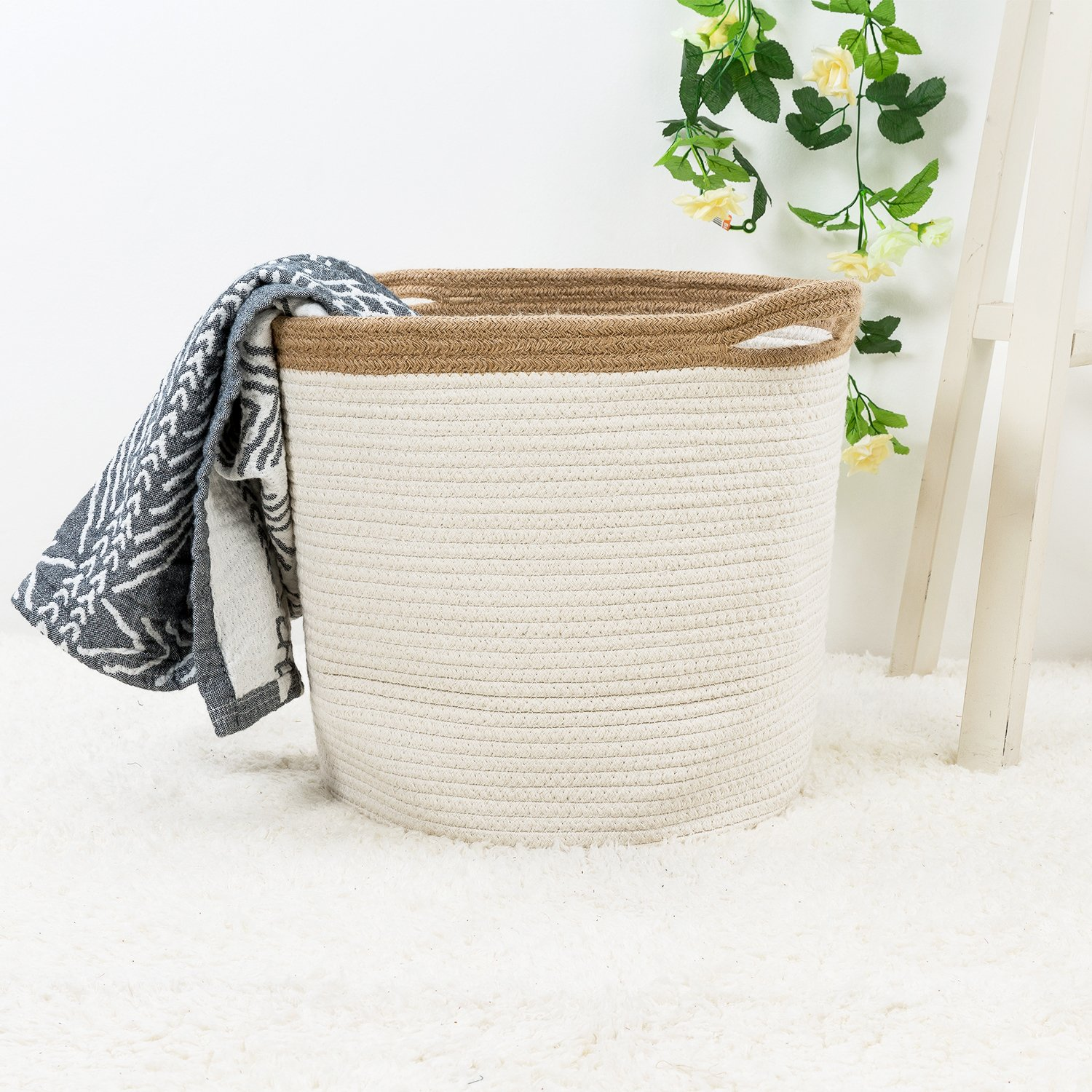 Goodpick 15'' x 12.6'' x 11.8'' Large Cotton Rope Basket - Woven Storage Basket - Baby Bins for Diapers, Laundry Organization, Toys, Towels, Blankets, Nursery - Decor Cotton Storage Container