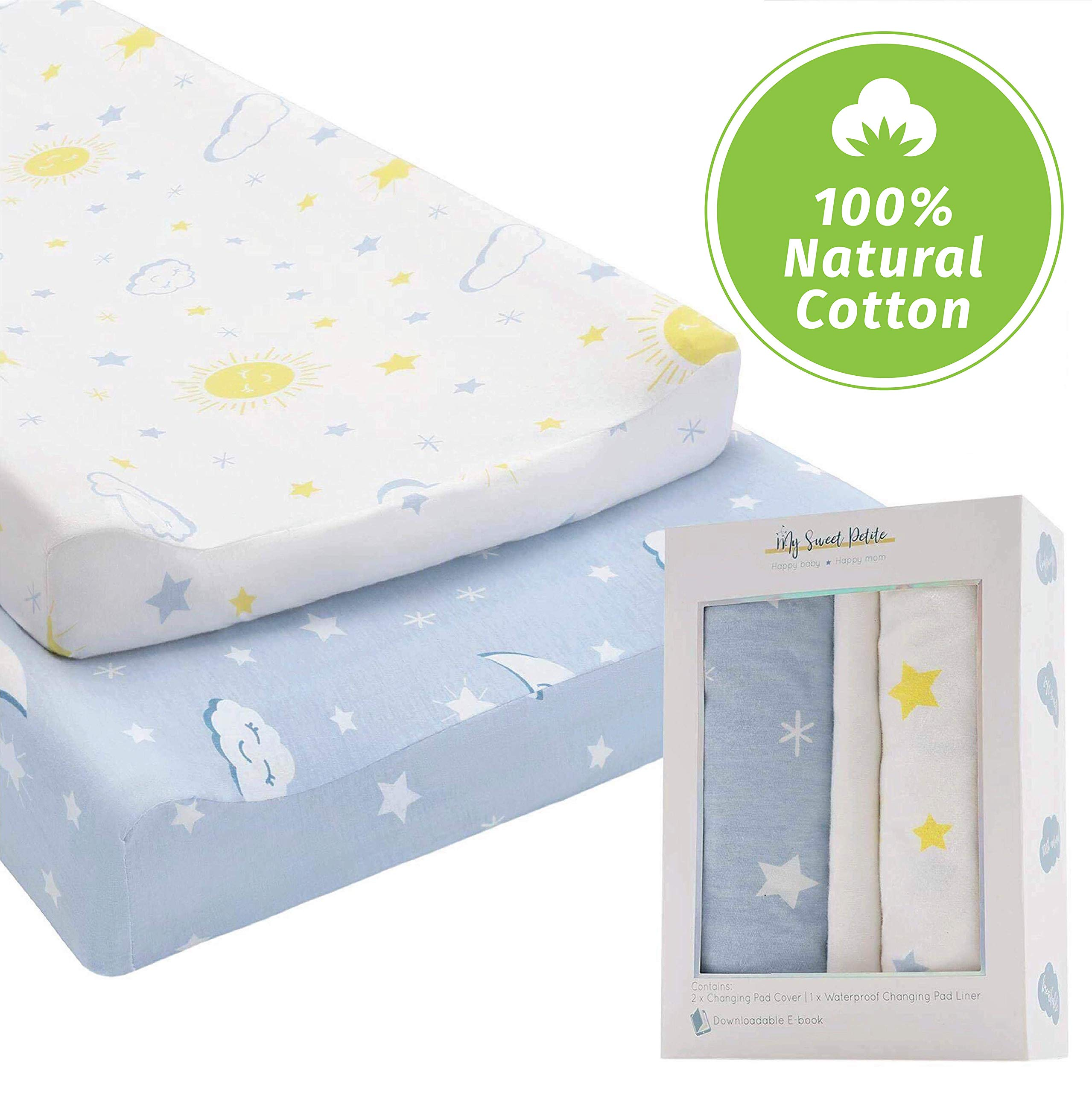 Changing Pad Cover Set with Waterproof Pad Liner Included -100% Premium Cotton Changing Table Pad Cover for Baby Boy and Girl- 2 Pack Super Soft Stretchy Diaper Changing Pad Covers-Blue and White by My Sweet Petite