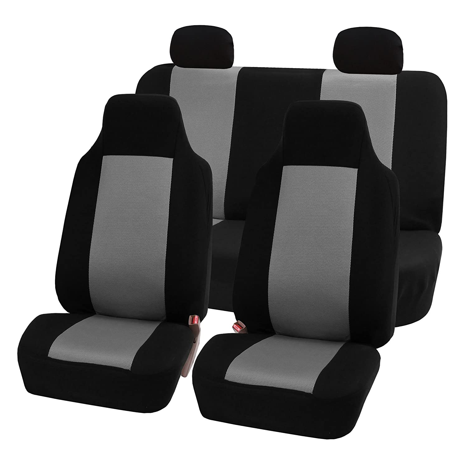 Amazon FH FB102114 Full Set Classic Cloth Car Seat Covers Gray Black Color Fit Most Truck Suv Or Van Automotive