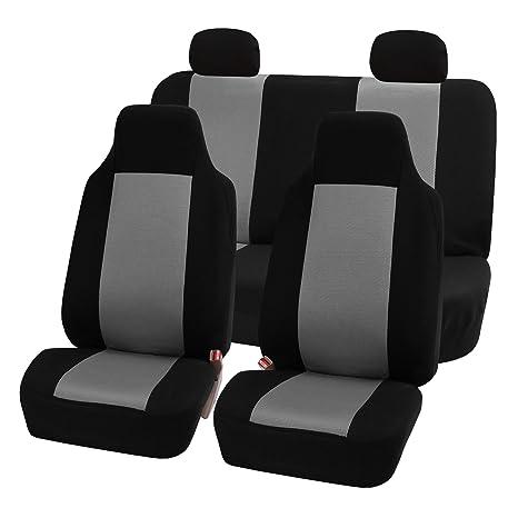 FH FB102114 Full Set Classic Cloth Car Seat Covers Gray Black Color Fit