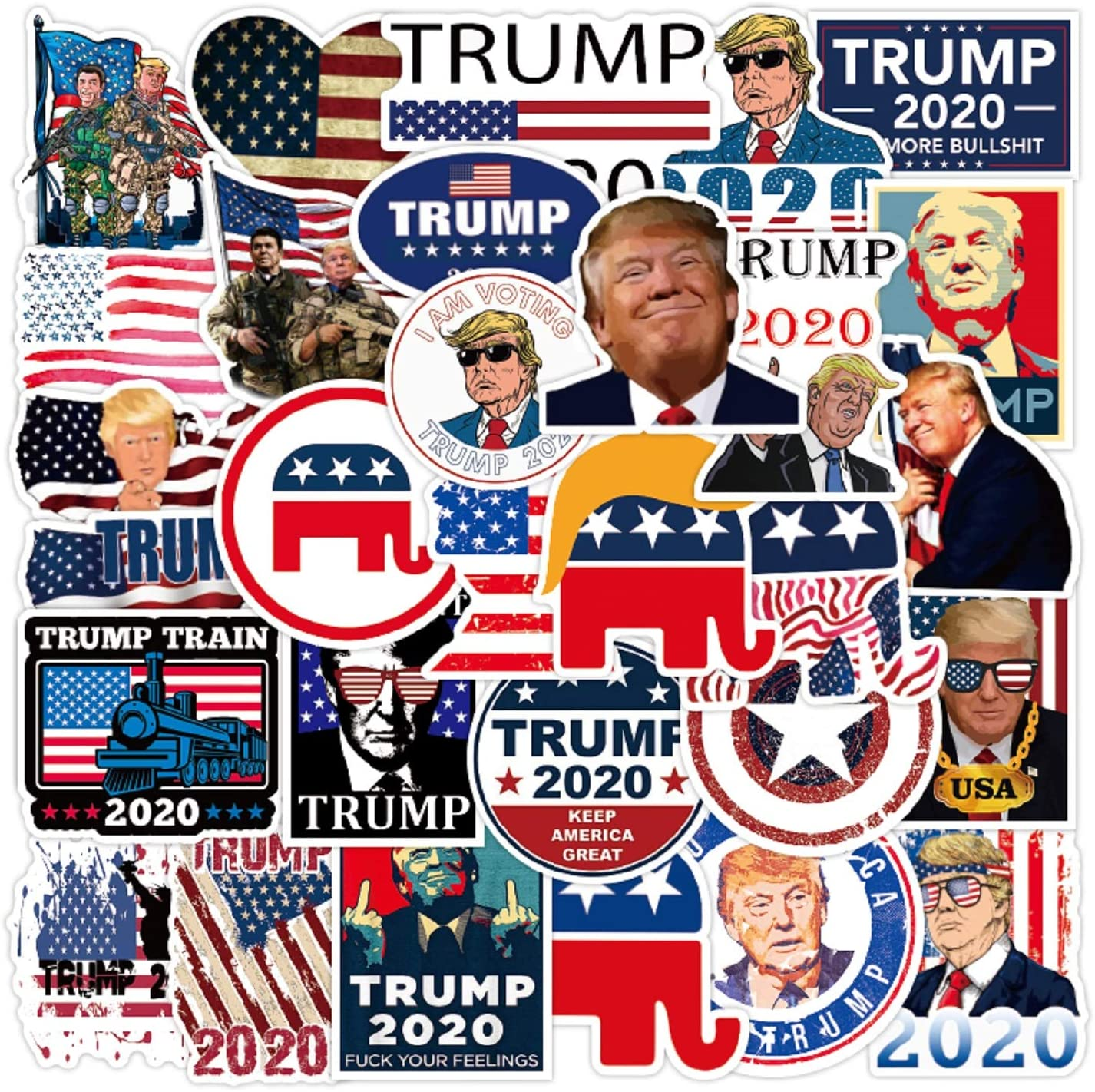 50 Pcs Trump Stickers, Waterproof Vinyl Stickers Decal for Laptop Water Bottle Phone Bike Car Luggage Guitar Skateboard, Funny Cartoon Comic Style Trump 2020 Stickers