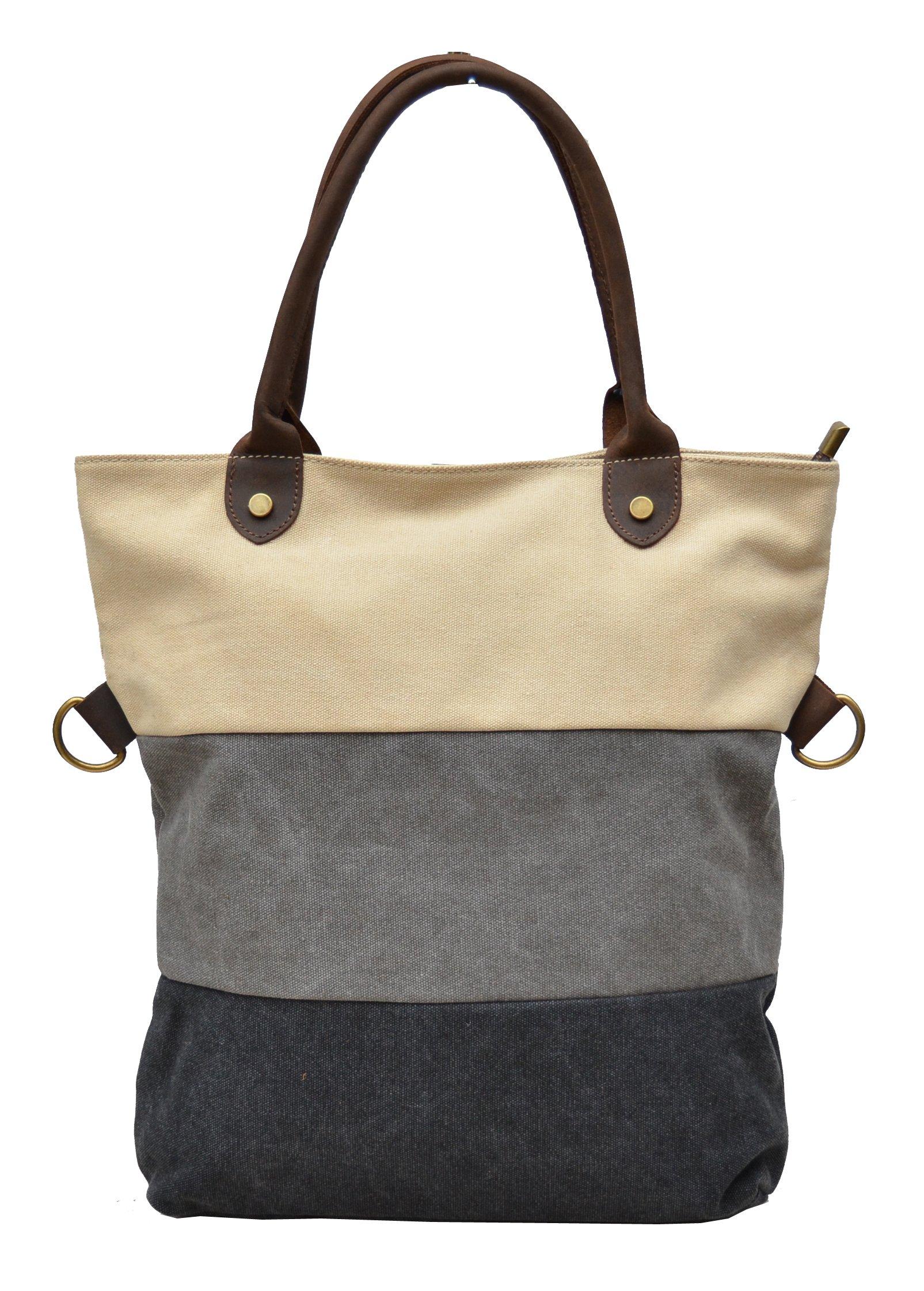 Gootium Canvas Leather Vintage Shoulder Tote Bag, White