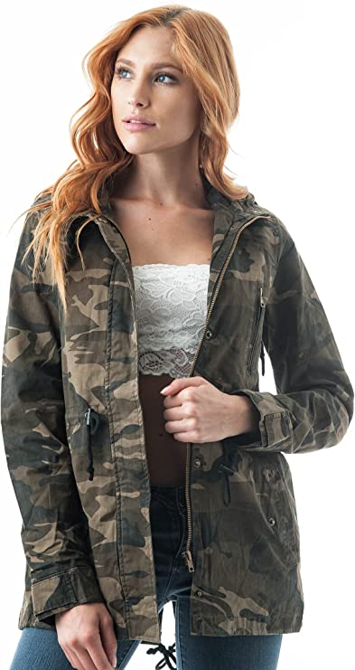 Andongnywell Ladies Camouflage Long Coat Camo Anorak Jacket Military Parka Pocket Plus Size Cardigan Snap Button Down Outwear