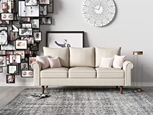 Container Furniture Direct Circular Ultra Modern Fabric Upholstered Living Room Sofa, 64.60