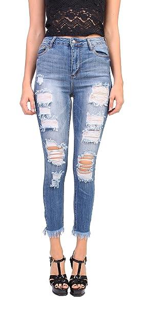efdf4e62b2 Cello Jeans Women High Rise Distressed Cropped Skinny Jeans With Fray Hem 1  Medium Denim