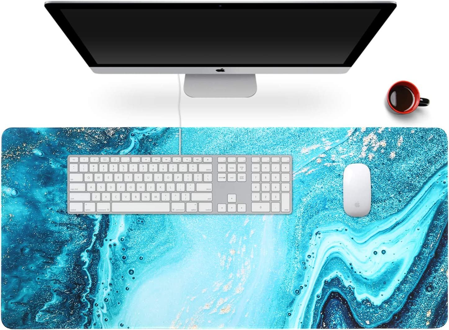 "Anyshock Desk Mat, Extended Gaming Mouse Pad 35.4"" x 15.7"" XXL Keyboard Laptop Mousepad with Stitched Edges Non Slip Base, Water-Resistant Computer Desk Pad for Office and Home (Teal Ocean Marble)"