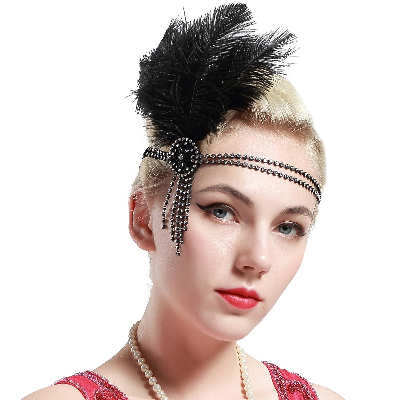 Babeyond Fascia Anni 20 Gatsby Flapper Headband Fascia Charleston con Piuma Anni 20 Fascia Capelli Gatsby Cerchietto con Piume BABEYOND-H-0152