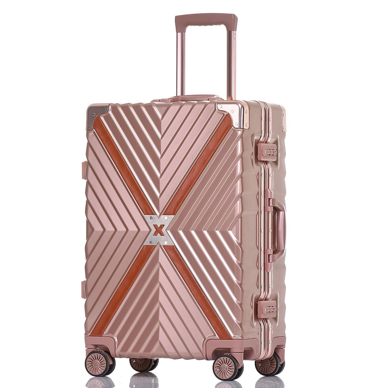 クロース(Kroeus) スーツケース 4輪ダブルキャスター 静音 アルミフレーム 大容量 軽量 人気 キャリーケース 旅行 出張 TSAロック搭載 多段階調節キャリーバー コーナープロテクト B07C2KZM9D XL ローズレッド ローズレッド XL