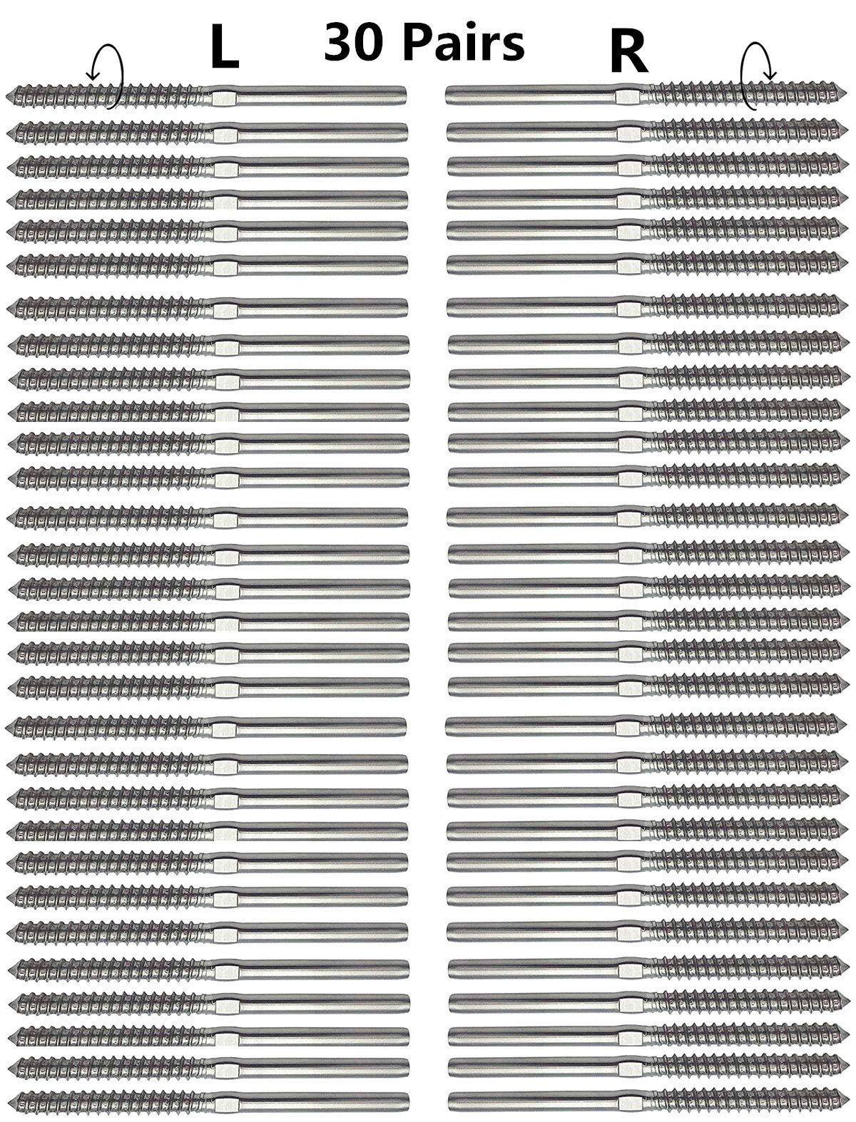 Senmit Swage Lag Screws Left & Right 60 Pack for 1/8'' Cable Railing, 316 Stainless Steel Stair Deck Railing Wood Post Balusters System 30 Pairs by Senmit