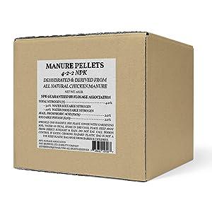 Flosage Pooplt Organic Fertilizer, Dehydrated Chicken Manure Pellets, 4-2-2 NPK, Net Wt. 18 lb./8.16 kg.