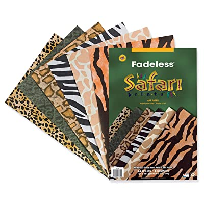 "Fadeless Safari Prints Paper, 6 Assorted Patterns, 12"" x 18"", 24 Sheets: Industrial & Scientific"