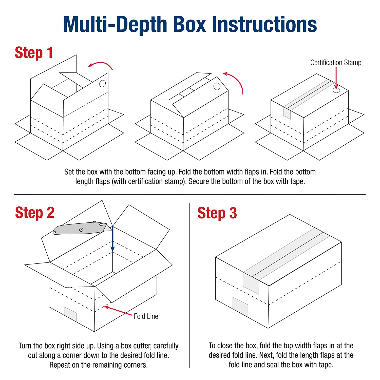 Boxes Fast BFMD121218 Multi-Depth Cardboard Shipping Boxes Pack of 25 Single Wall Corrugated Kraft 12 x 12 x 18 Pre-Scored