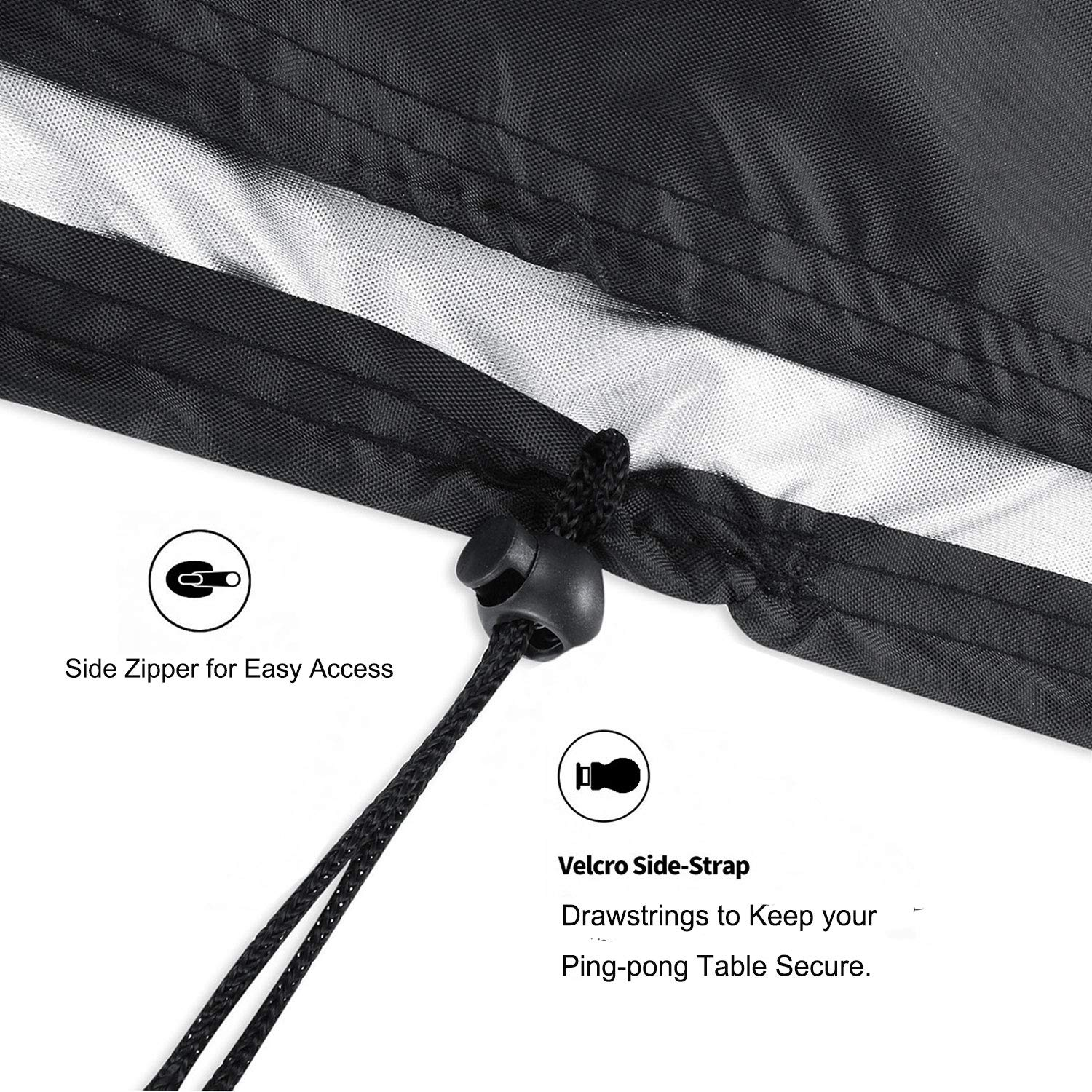 Black 420D Polyester Oxford Ping Pong Table Cover Outdoor iiSPORT Waterproof Table Tennis Table Cover Weatherproof 64 W x 27 D x 72 H,Durable Table Tennis Table Protector