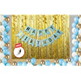 Party Propz 35Pcs Blue White and Golden Birthday Balloons Combo for Kids Or Boys Birthday Decoration Items