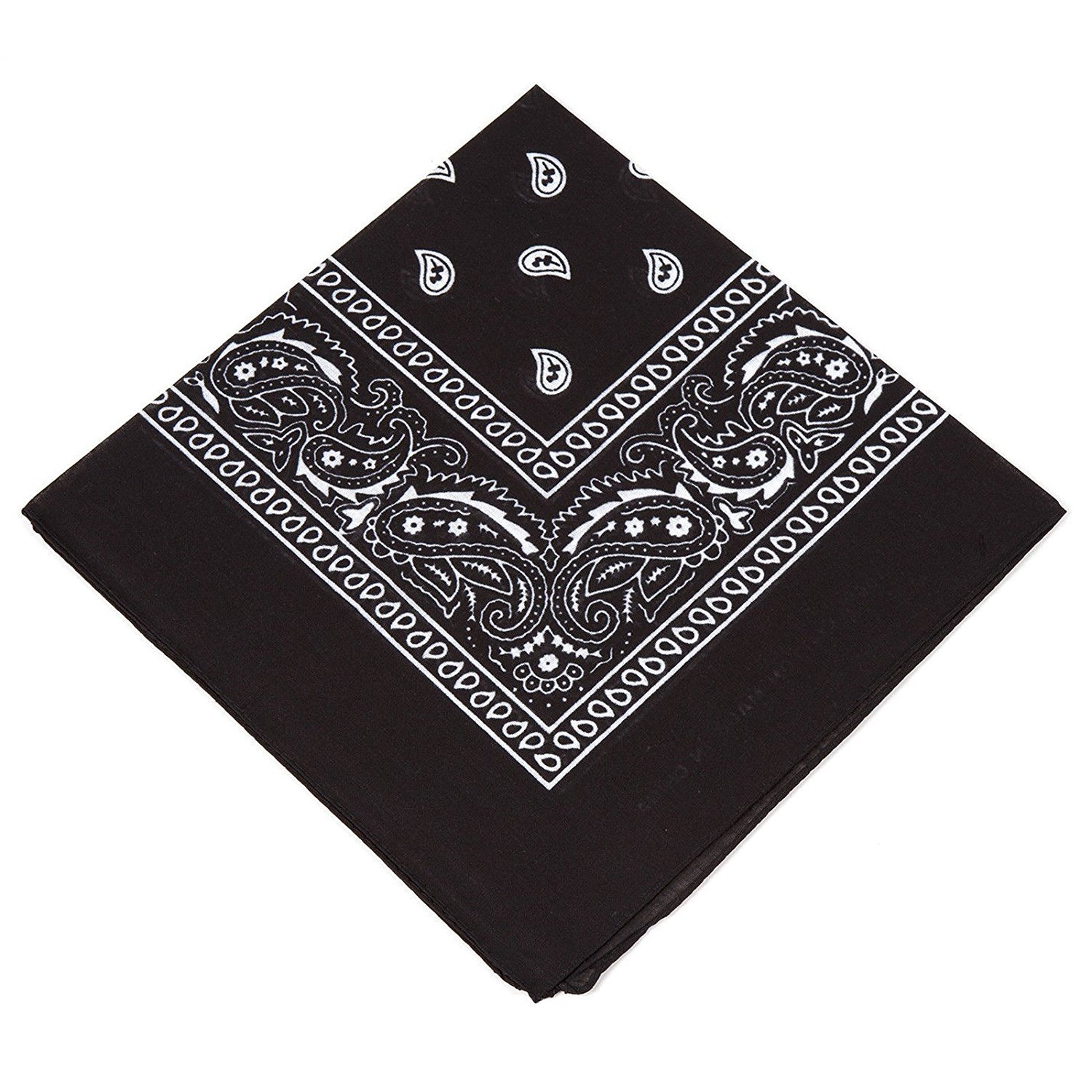 For Men 100/% Cotton Excellent quality Set of 2 X Black Bandana // Neck scarf // Hankerchief // Head tie // Neck Tie // Neckerchief with Paisley design Women /& Kids