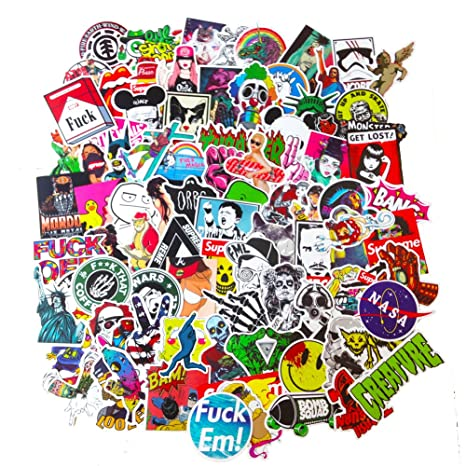 Review DreamerGO Cool Graffiti Stickers 100 Pieces Various Car Motorcycle Bicycle Skateboard Laptop Luggage Vinyl Sticker Graffiti Laptop Luggage Decals Bumper Stickers
