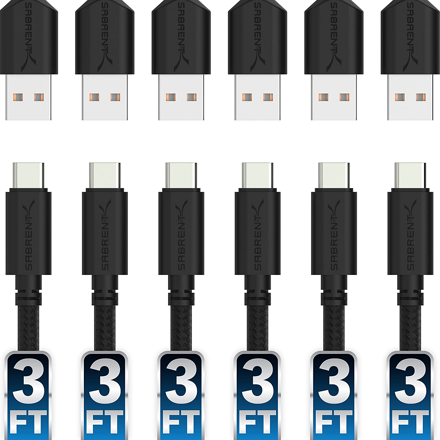 Sabrent [6-Pack] 22AWG Premium 3ft USB-C to USB A 2.0 Sync and Charge Cables [Black] (CB-C6X3)