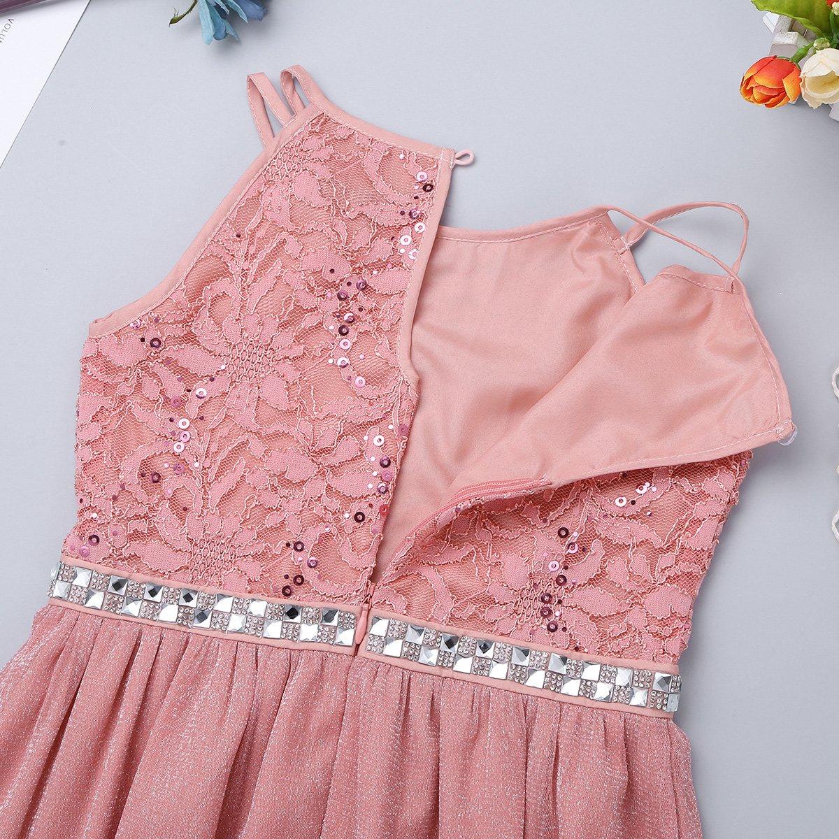 iiniim Girls Sequined Lace Chiffon Sleeveless Flower Girl Dress Wedding Princess Pageant Bridesmaid Birthday Party Dresses