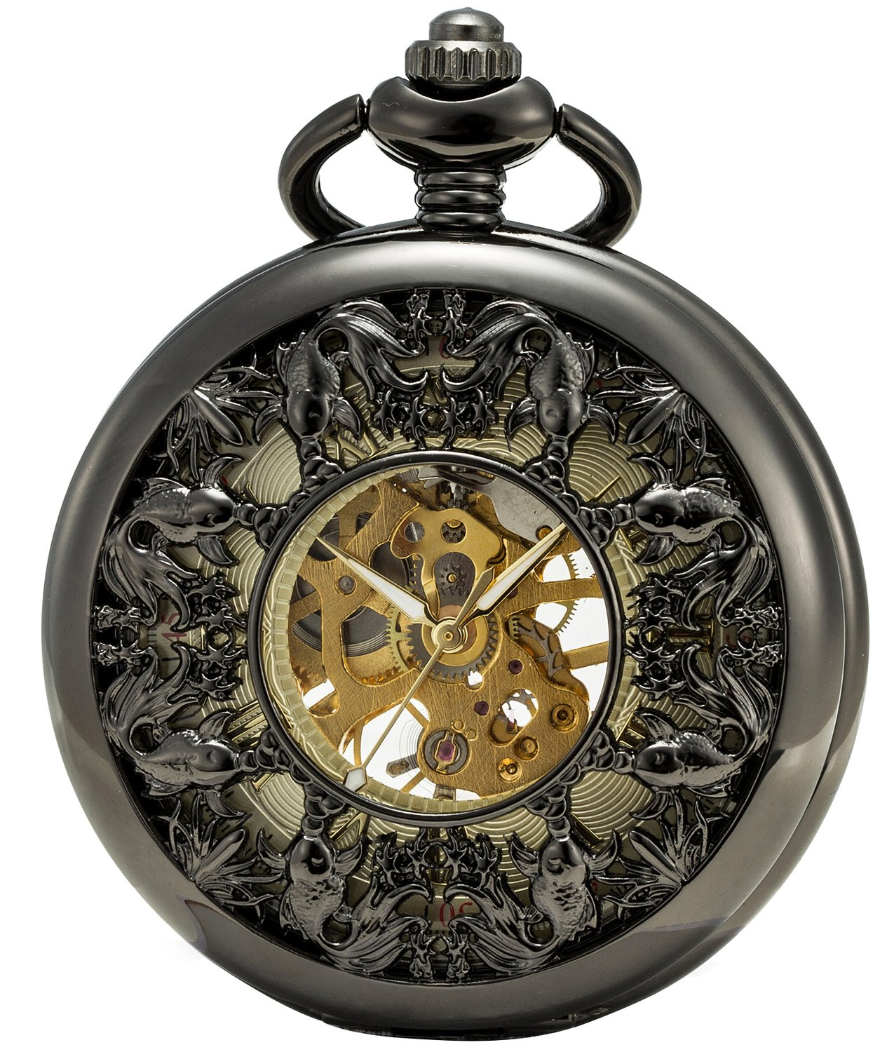 SEWOR Grace Koi Skeleton Pocket Watch Black Mechanical Hand Wind with Leather Gift Box (Black) by SEWOR (Image #1)