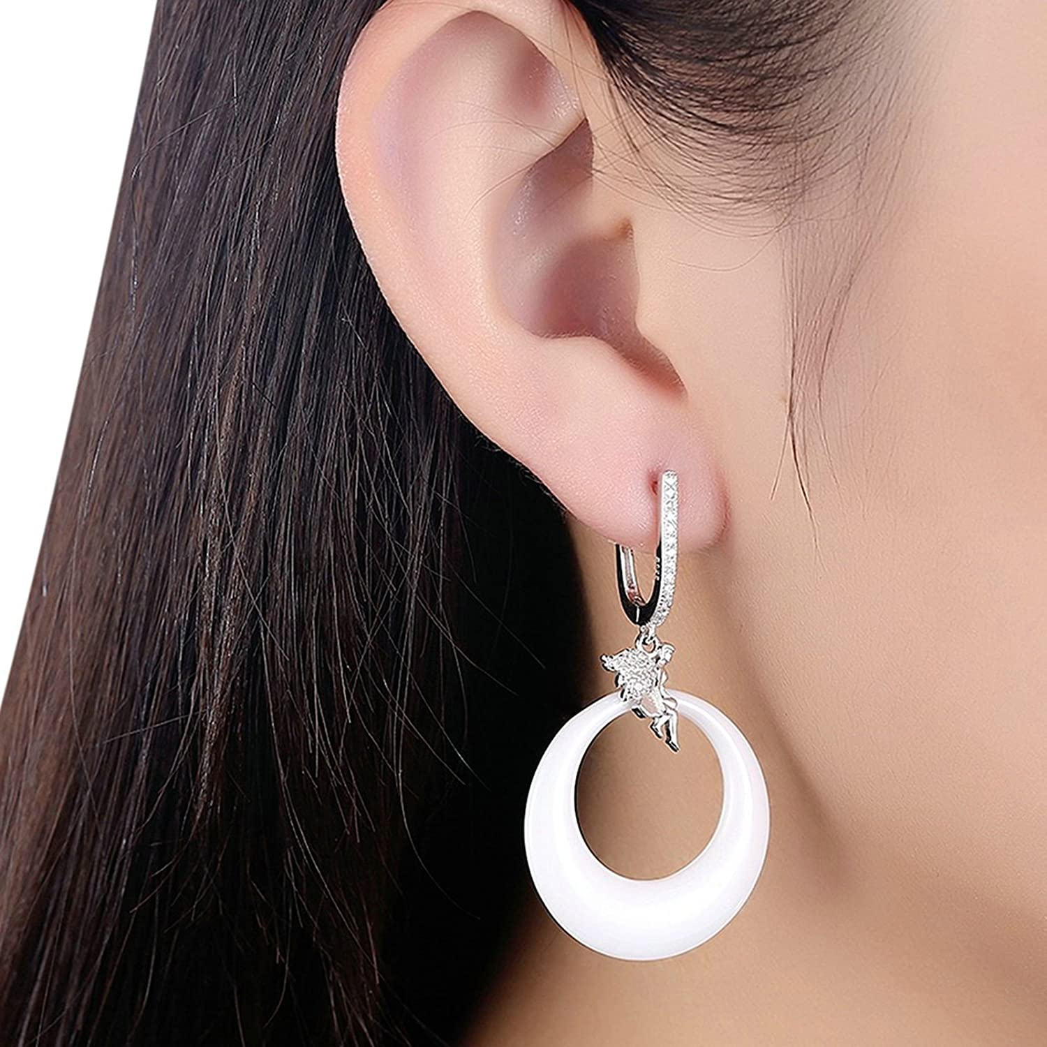 MoAndy Jewelry S925 Sterling Silver Women Stud Earring Angel Ceramic Round Ear Pierced