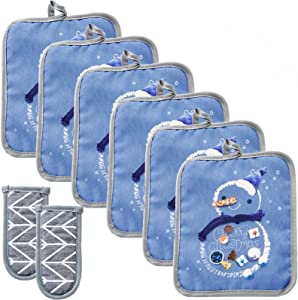 Win Change Heat Resistant Potholders Hot Pads-6 Kitchen Pot Holders Set with 2 Pan Hot Handle Holders Trivet for Cooking and Baking,with Recycled Cotton(Christmas Snow Blue, 8)