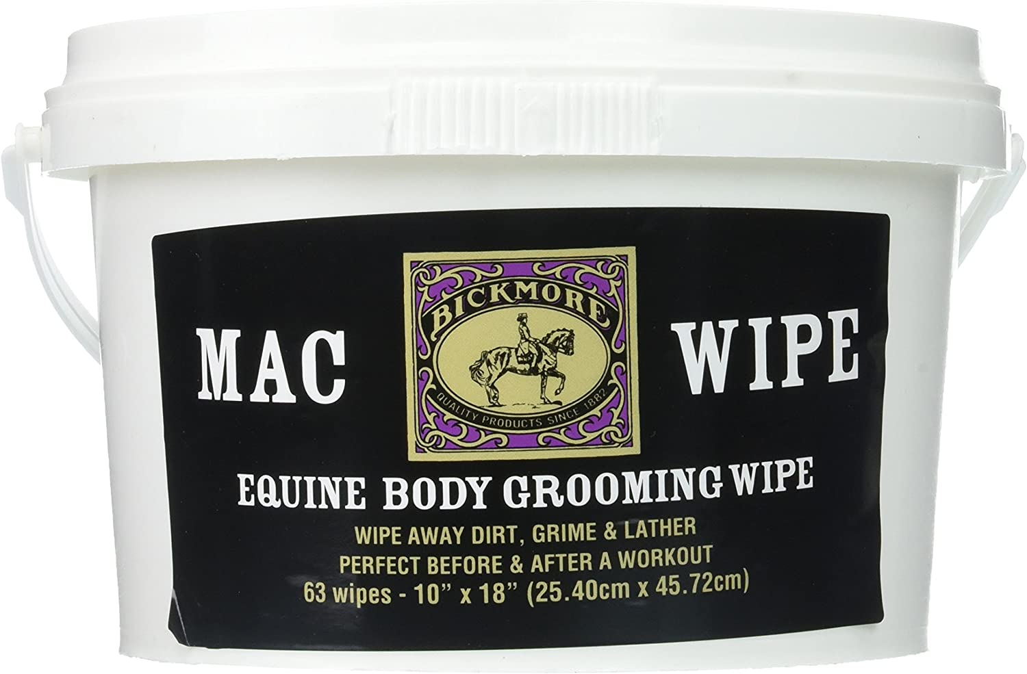 Bickmore Mac Wipes, 63 Count - Equine Body Grooming and Cleaning Wipe For Horses and Other Non-Self Grooming Animals - Ideal For Quick Cleanings Between Workouts Or Just Before Competition