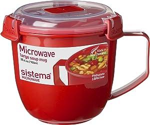 Sistema Microwave Collection Soup Mug 31.7oz, Red 1109ZS, 4 Cup