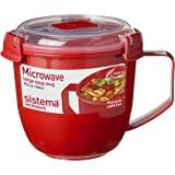 Sistema 1141 Large Microwave Cookware Soup Mug, 30.4 oz, Red